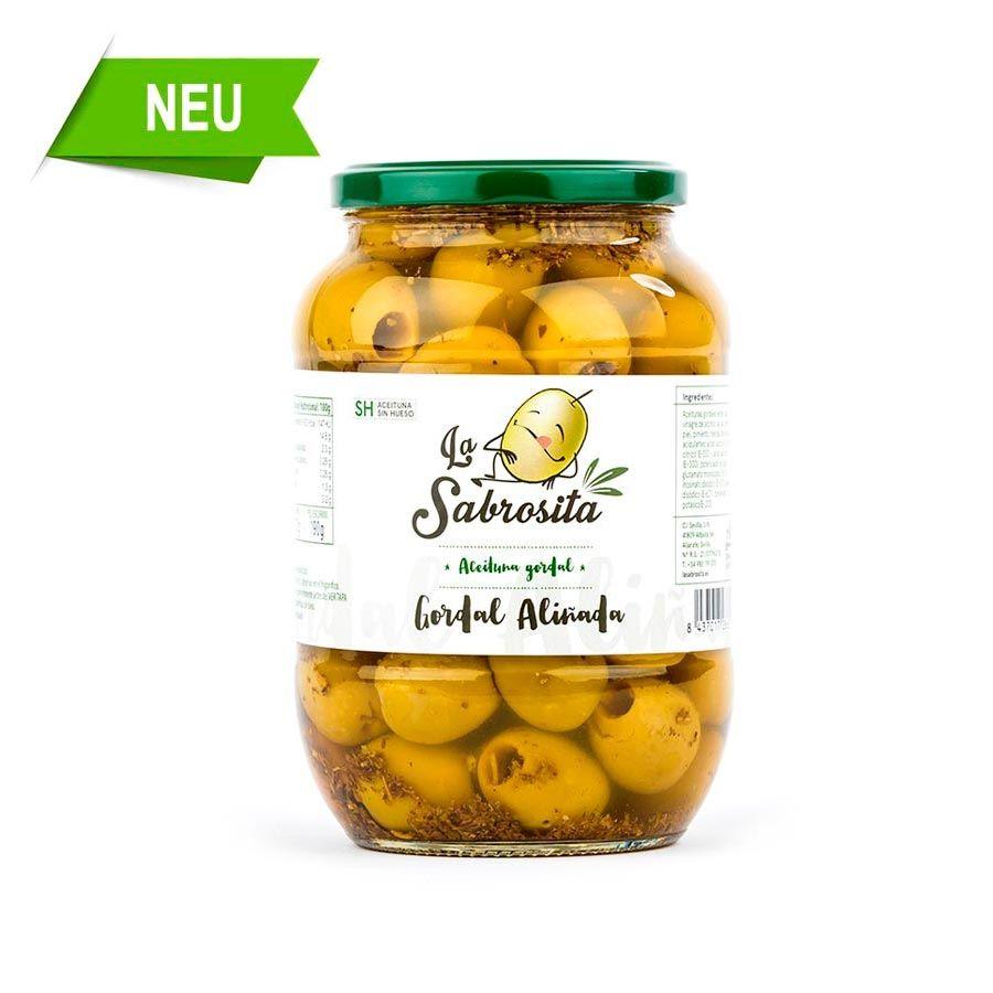 Gordal Oliven Entkernt mit Gewürzkräutern 415 g